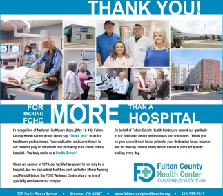 Thank you! For making FCHC more than a hospital!