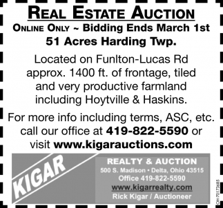 Real Estate Auction - March 1st