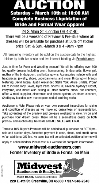 Bride and Formal Wear Apparel, Midwest Auctioneers & Realty