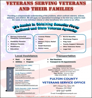 We assist in obtaining benefits from national and state veterans agencies