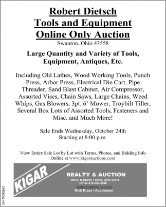 Robert Dietsch Tools and Equipment Online Only Auction